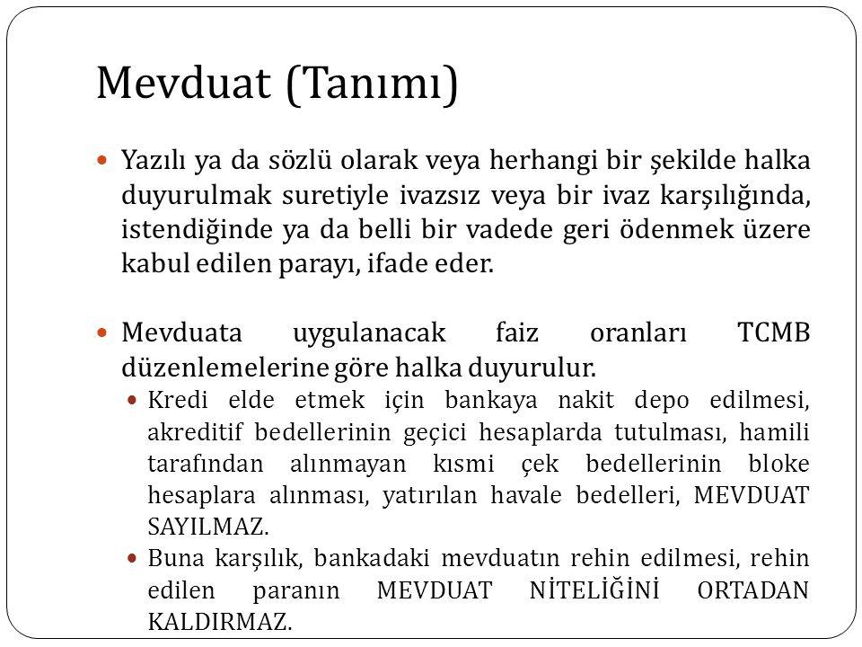 Mevduat (Tanımı) Yazılı ya da sözlü olarak veya herhangi bir şekilde halka duyurulmak suretiyle ivazsız veya bir ivaz karşılığında, istendiğinde ya da
