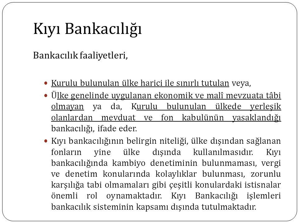 Kıyı Bankacılığı Bankacılık faaliyetleri, Kurulu bulunulan ülke harici ile sınırlı tutulan veya, Ülke genelinde uygulanan ekonomik ve malî mevzuata tâ