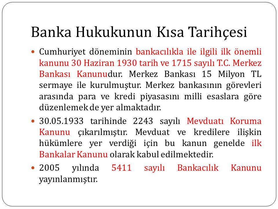 Banka Hukukunun Kısa Tarihçesi Cumhuriyet döneminin bankacılıkla ile ilgili ilk önemli kanunu 30 Haziran 1930 tarih ve 1715 sayılı T.C. Merkez Bankası