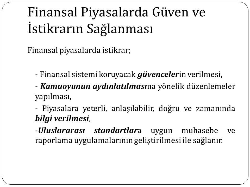 Finansal Piyasalarda Güven ve İstikrarın Sağlanması Finansal piyasalarda istikrar; - Finansal sistemi koruyacak güvencelerin verilmesi, - Kamuoyunun a