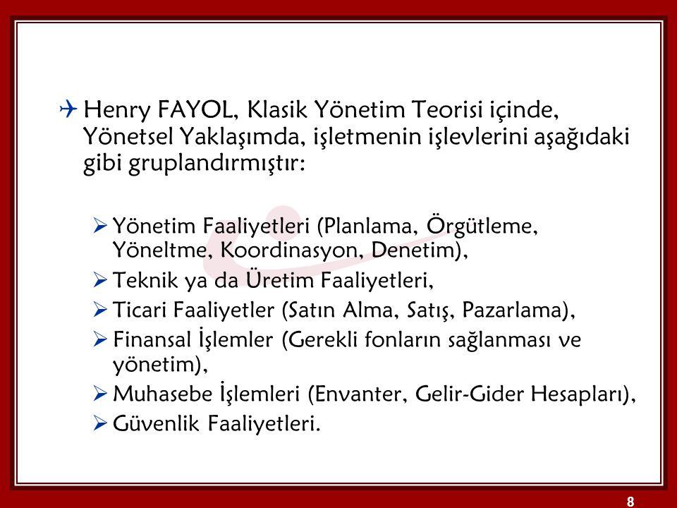 8  Henry FAYOL, Klasik Yönetim Teorisi içinde, Yönetsel Yaklaşımda, işletmenin işlevlerini aşağıdaki gibi gruplandırmıştır:  Yönetim Faaliyetleri (P