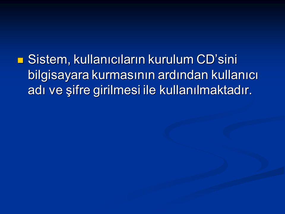 Sistem, kullanıcıların kurulum CD'sini bilgisayara kurmasının ardından kullanıcı adı ve şifre girilmesi ile kullanılmaktadır. Sistem, kullanıcıların k