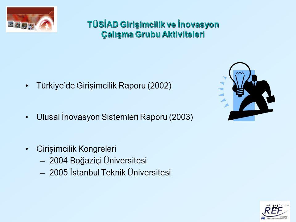 12 TÜSİAD Girişimcilik ve İnovasyon Çalışma Grubu Aktiviteleri Türkiye'de Girişimcilik Raporu (2002) Ulusal İnovasyon Sistemleri Raporu (2003) Girişim