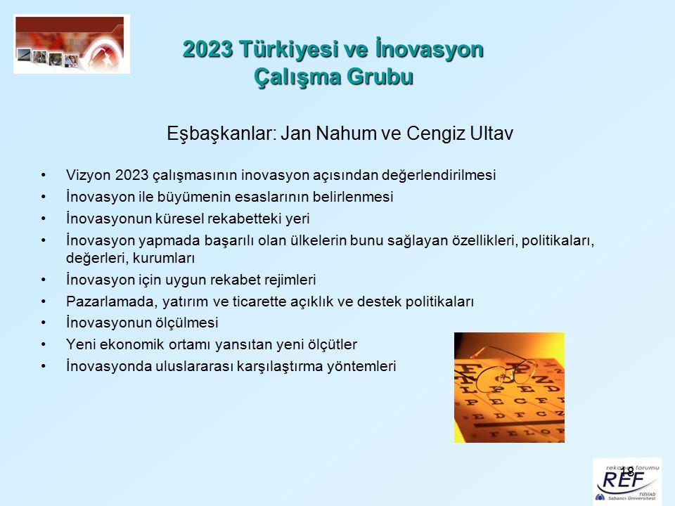 18 2023 Türkiyesi ve İnovasyon Çalışma Grubu Eşbaşkanlar: Jan Nahum ve Cengiz Ultav Vizyon 2023 çalışmasının inovasyon açısından değerlendirilmesi İno