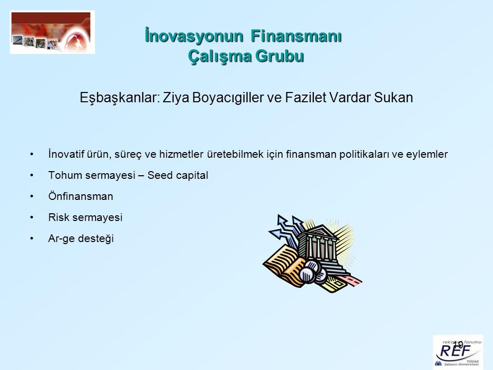 19 İnovasyonun Finansmanı Çalışma Grubu Eşbaşkanlar: Ziya Boyacıgiller ve Fazilet Vardar Sukan İnovatif ürün, süreç ve hizmetler üretebilmek için fina