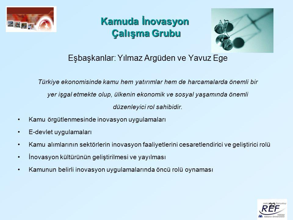 22 Kamuda İnovasyon Çalışma Grubu Eşbaşkanlar: Yılmaz Argüden ve Yavuz Ege Türkiye ekonomisinde kamu hem yatırımlar hem de harcamalarda önemli bir yer
