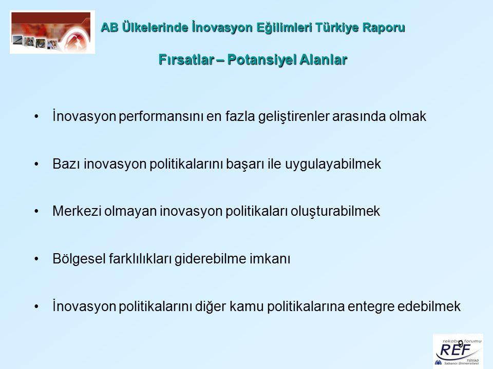 9 AB Ülkelerinde İnovasyon Eğilimleri Türkiye Raporu Fırsatlar – Potansiyel Alanlar İnovasyon performansını en fazla geliştirenler arasında olmak Bazı