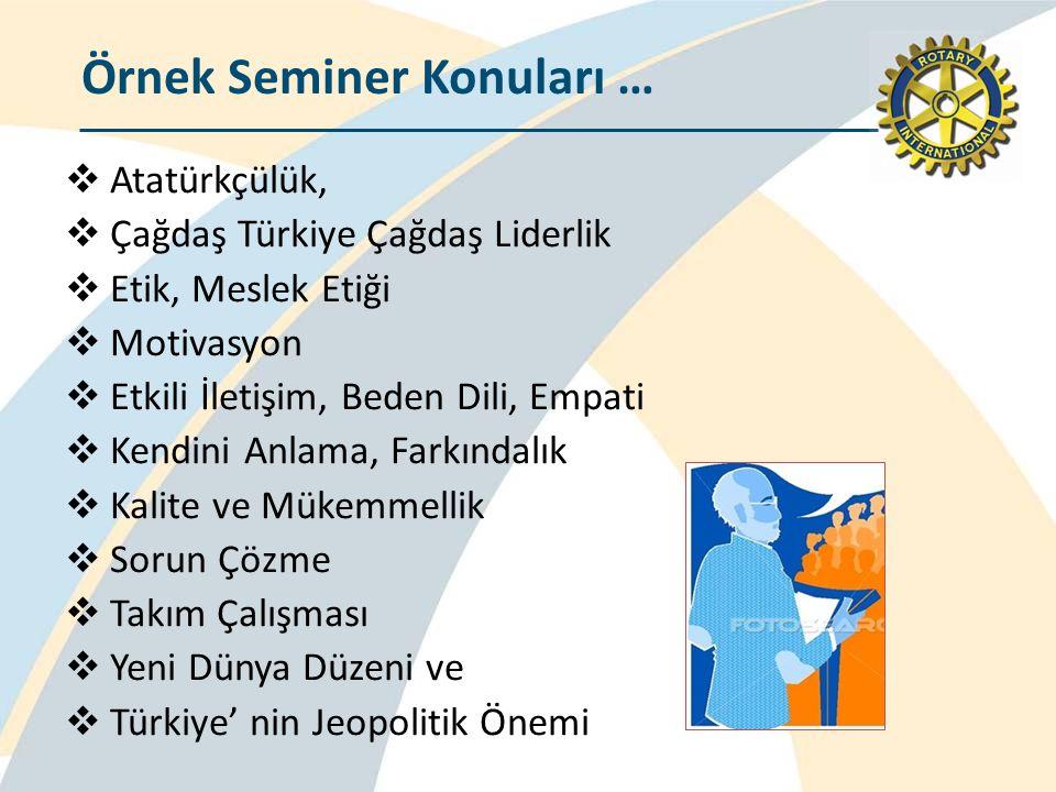 Örnek Seminer Konuları …  Atatürkçülük,  Çağdaş Türkiye Çağdaş Liderlik  Etik, Meslek Etiği  Motivasyon  Etkili İletişim, Beden Dili, Empati  Ke