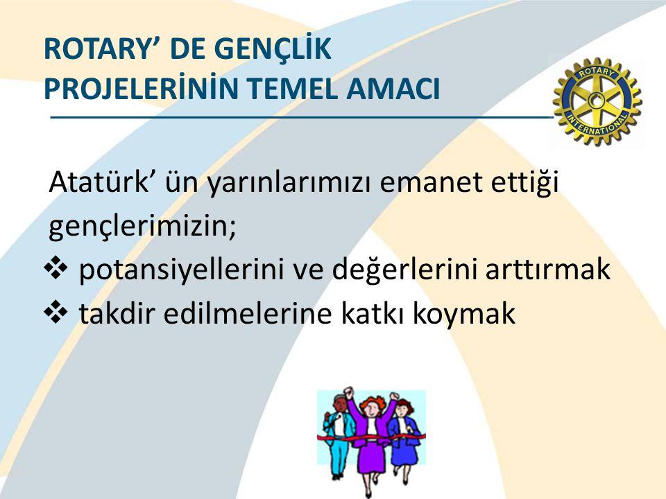 Atatürk' ün yarınlarımızı emanet ettiği gençlerimizin;  potansiyellerini ve değerlerini arttırmak  takdir edilmelerine katkı koymak ROTARY' DE GENÇL