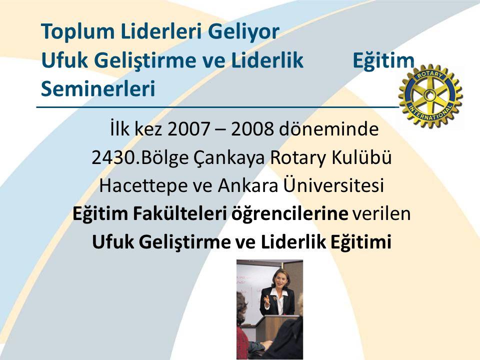 İlk kez 2007 – 2008 döneminde 2430.Bölge Çankaya Rotary Kulübü Hacettepe ve Ankara Üniversitesi Eğitim Fakülteleri öğrencilerine verilen Ufuk Geliştir