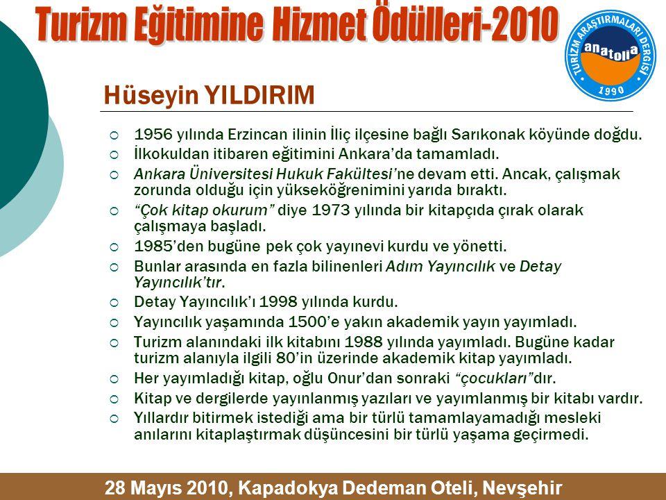 Hüseyin YILDIRIM  1956 yılında Erzincan ilinin İliç ilçesine bağlı Sarıkonak köyünde doğdu.  İlkokuldan itibaren eğitimini Ankara'da tamamladı.  An