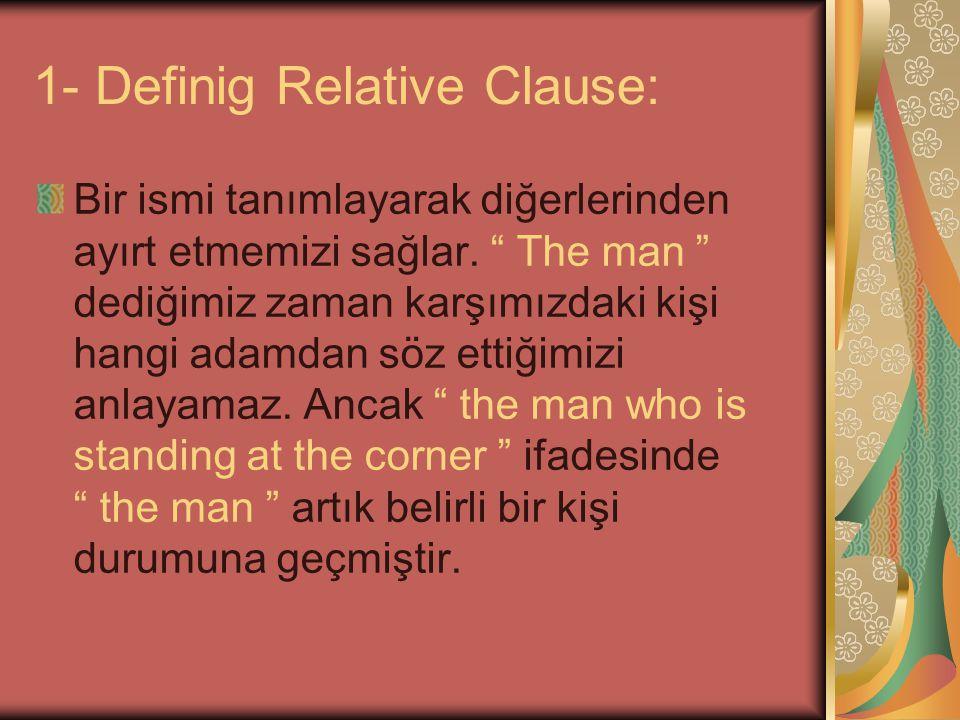 """1- Definig Relative Clause: Bir ismi tanımlayarak diğerlerinden ayırt etmemizi sağlar. """" The man """" dediğimiz zaman karşımızdaki kişi hangi adamdan söz"""