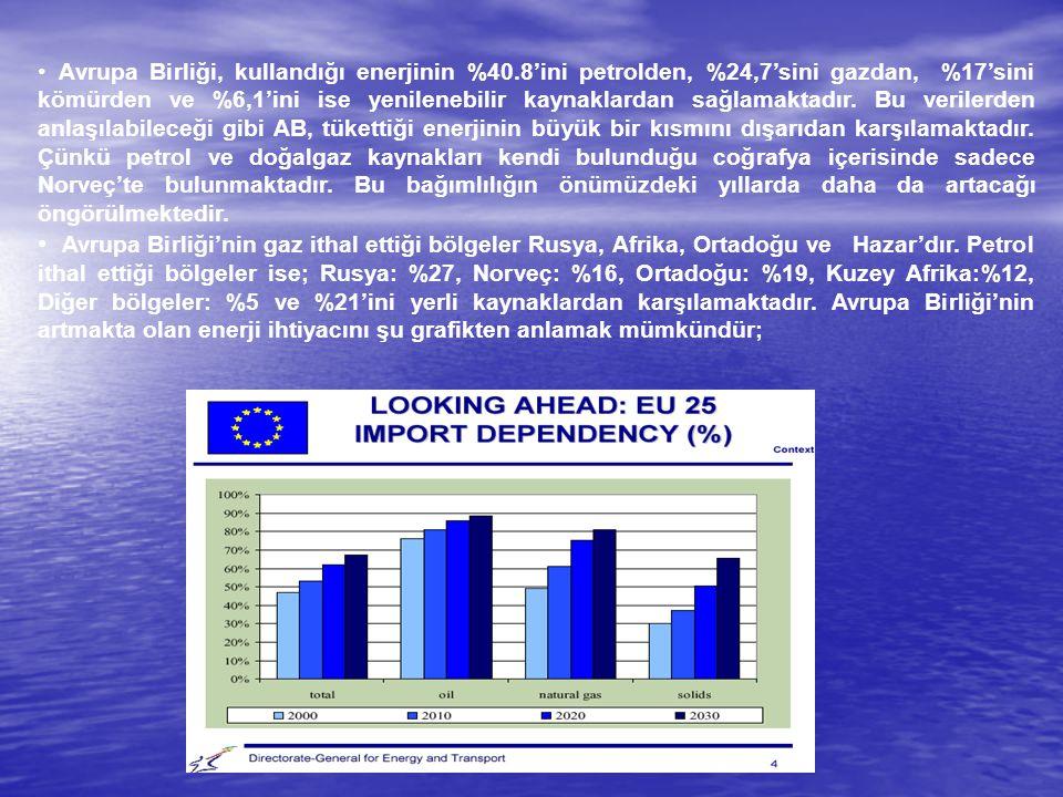Avrupa Birliği, kullandığı enerjinin %40.8'ini petrolden, %24,7'sini gazdan, %17'sini kömürden ve %6,1'ini ise yenilenebilir kaynaklardan sağlamaktadı