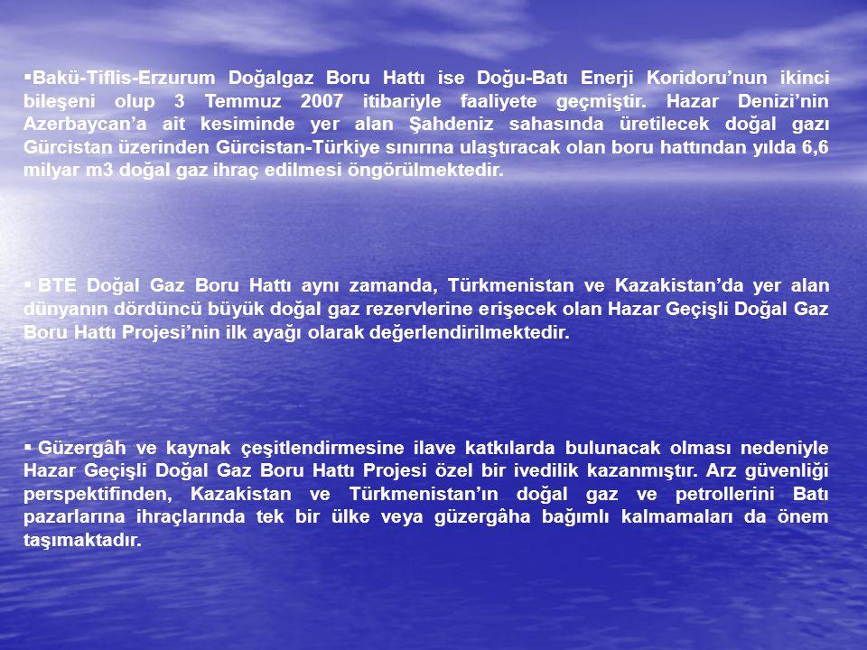  Bakü-Tiflis-Erzurum Doğalgaz Boru Hattı ise Doğu-Batı Enerji Koridoru'nun ikinci bileşeni olup 3 Temmuz 2007 itibariyle faaliyete geçmiştir. Hazar D