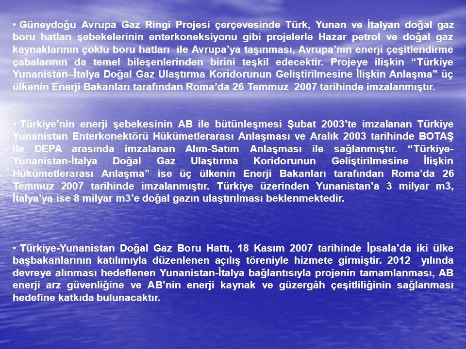 Güneydoğu Avrupa Gaz Ringi Projesi çerçevesinde Türk, Yunan ve İtalyan doğal gaz boru hatları şebekelerinin enterkoneksiyonu gibi projelerle Hazar pet