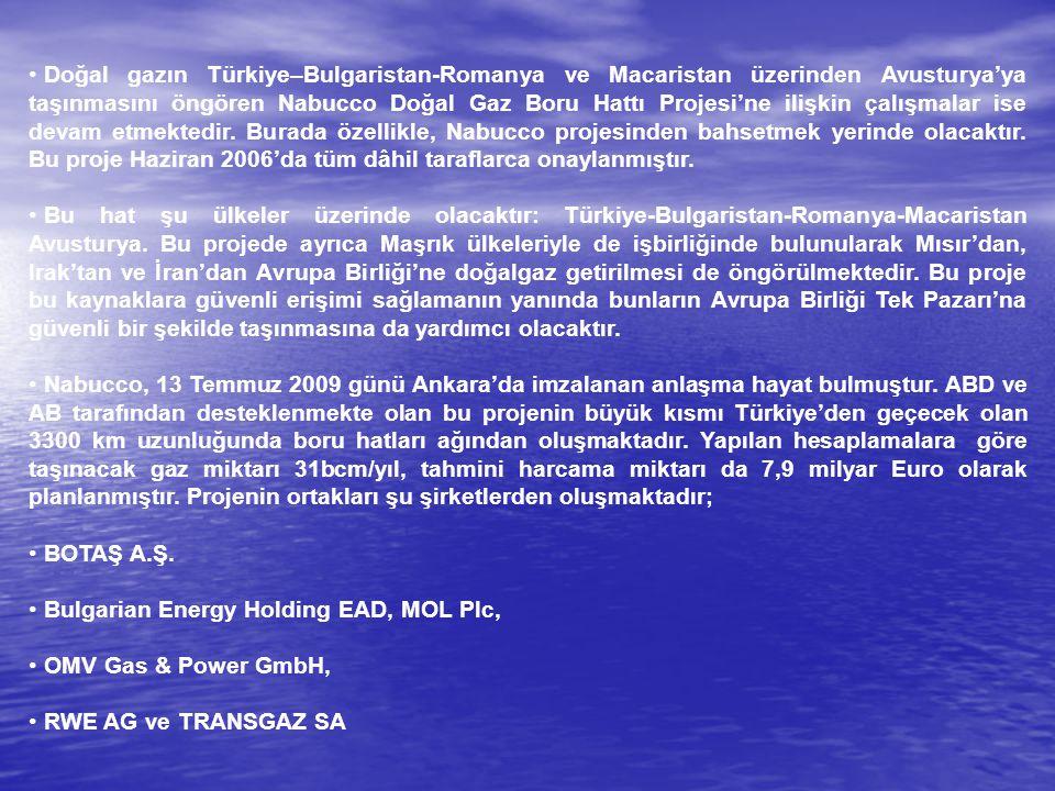 Doğal gazın Türkiye–Bulgaristan-Romanya ve Macaristan üzerinden Avusturya'ya taşınmasını öngören Nabucco Doğal Gaz Boru Hattı Projesi'ne ilişkin çalış