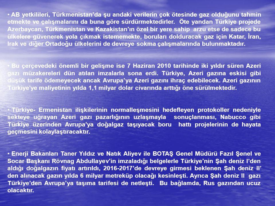 AB yetkilileri, Türkmenistan'da şu andaki verilerin çok ötesinde gaz olduğunu tahmin etmekte ve çalışmalarını da buna göre sürdürmektedirler. Öte yand