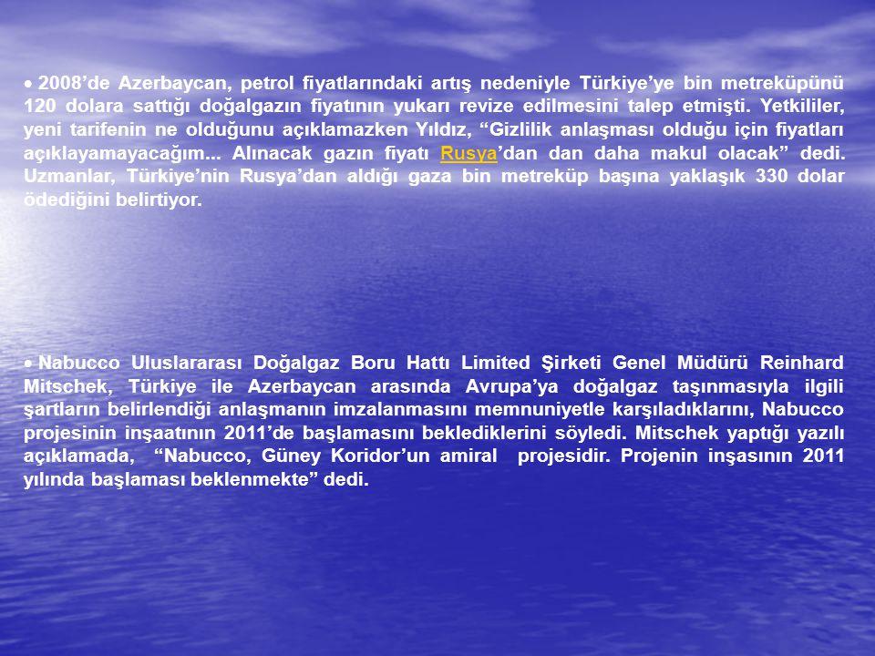  2008'de Azerbaycan, petrol fiyatlarındaki artış nedeniyle Türkiye'ye bin metreküpünü 120 dolara sattığı doğalgazın fiyatının yukarı revize edilmesin
