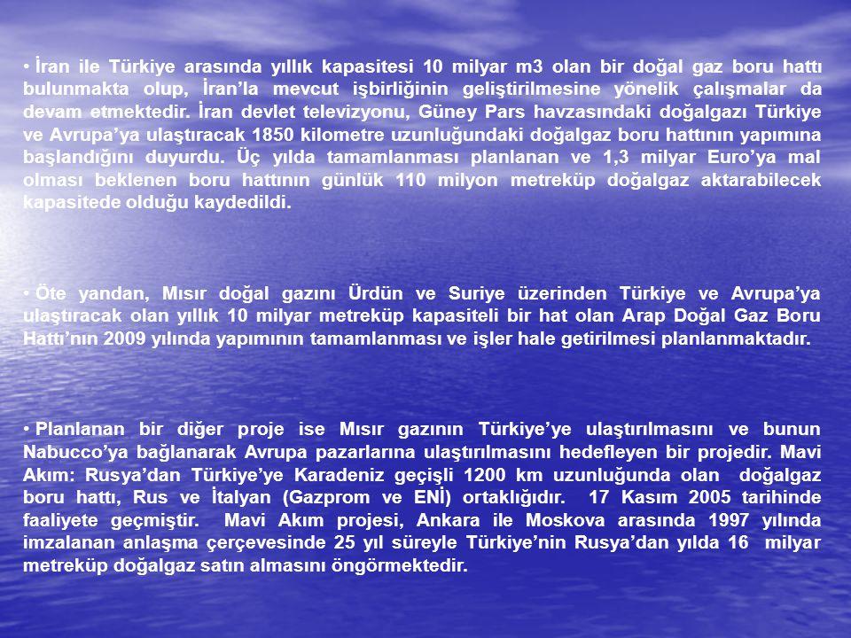 İran ile Türkiye arasında yıllık kapasitesi 10 milyar m3 olan bir doğal gaz boru hattı bulunmakta olup, İran'la mevcut işbirliğinin geliştirilmesine y