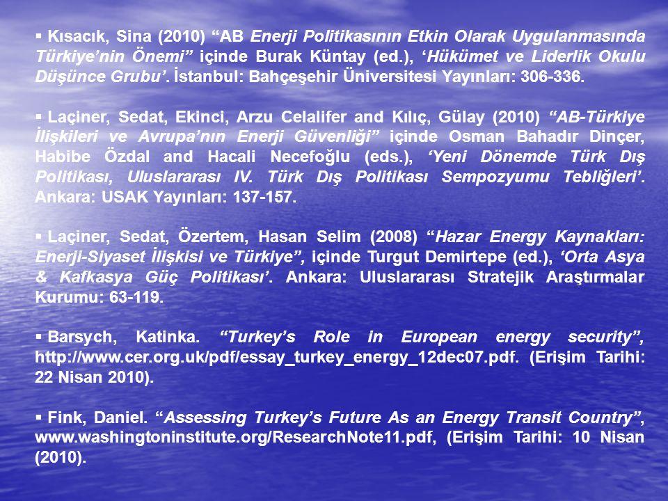 """ Kısacık, Sina (2010) """"AB Enerji Politikasının Etkin Olarak Uygulanmasında Türkiye'nin Önemi"""" içinde Burak Küntay (ed.), 'Hükümet ve Liderlik Okulu D"""
