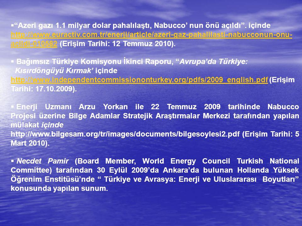 """ """"Azeri gazı 1.1 milyar dolar pahalılaştı, Nabucco' nun önü açıldı"""". içinde http://www.euractiv.com.tr/enerji/article/azeri-gaz-pahalilasti-nabucconu"""