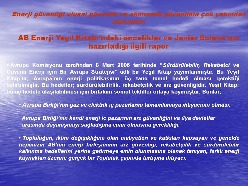 Avrupa'nın kendi Lizbon Stratejisi'ne uygun olarak iklim değişikliğinin getirmiş olduğu zorluklarla ilgilenmeye yönelik bir strateji ortaya koyması gerekliliği, Stratejik bir enerji teknoloji planı Ortak bir dış enerji politikası  AB Komisyonu'nun Avrupa Konseyi için hazırladığı ve 15 Haziran 2006 tarihinde yayınlanan Avrupa'nın Enerji Çıkarlarına Hizmet Etmek için Bir Dış Politika Oluşturulması adlı belgede, AB'nin ve dünyanın güvenli, maliyetine sürdürülebilir enerji akışlarına ihtiyacı olduğu vurgulanmıştır.