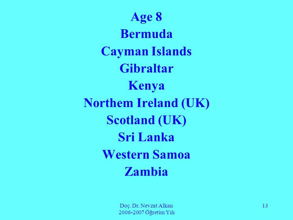 Doç. Dr. Nevzat Alkan 2006-2007 Öğretim Yılı 13 Age 8 Bermuda Cayman Islands Gibraltar Kenya Northem Ireland (UK) Scotland (UK) Sri Lanka Western Samo
