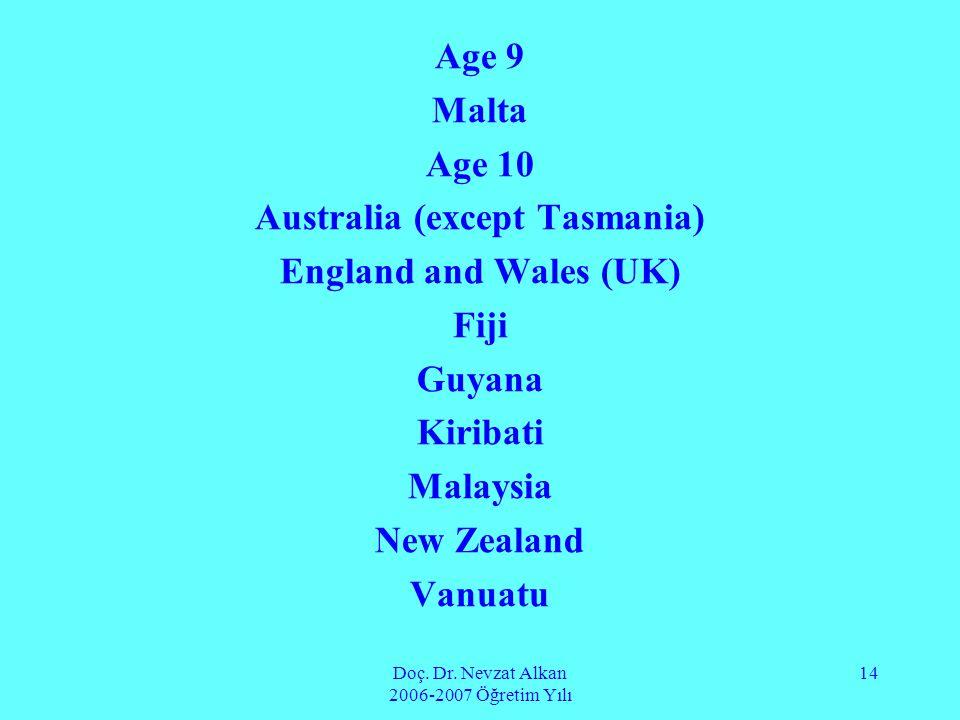 Doç. Dr. Nevzat Alkan 2006-2007 Öğretim Yılı 14 Age 9 Malta Age 10 Australia (except Tasmania) England and Wales (UK) Fiji Guyana Kiribati Malaysia Ne