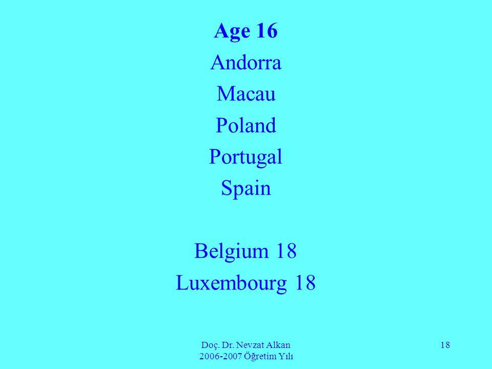 Doç. Dr. Nevzat Alkan 2006-2007 Öğretim Yılı 18 Age 16 Andorra Macau Poland Portugal Spain Belgium 18 Luxembourg 18