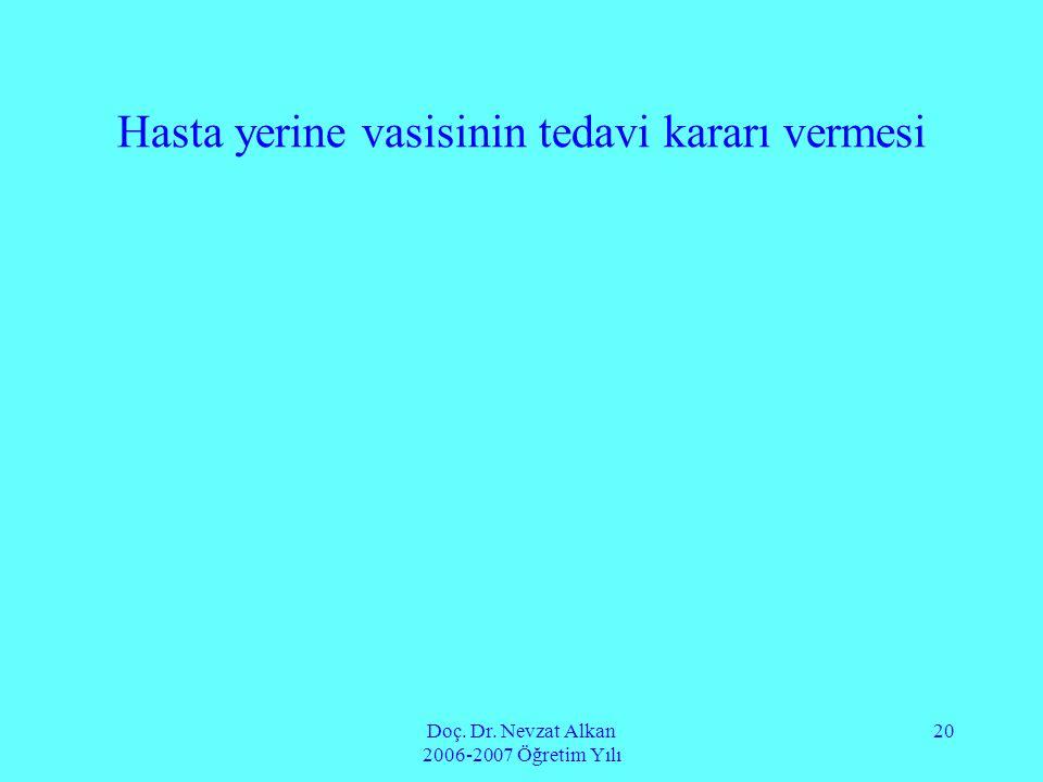 Doç. Dr. Nevzat Alkan 2006-2007 Öğretim Yılı 20 Hasta yerine vasisinin tedavi kararı vermesi