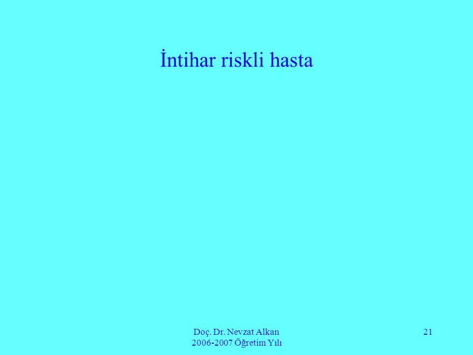 Doç. Dr. Nevzat Alkan 2006-2007 Öğretim Yılı 21 İntihar riskli hasta