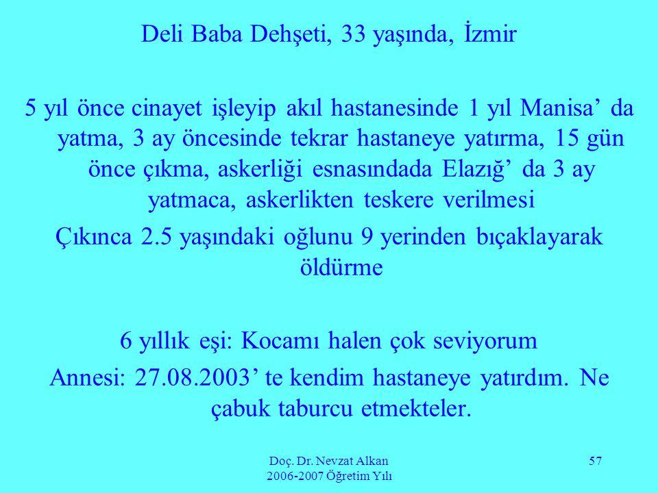 Doç. Dr. Nevzat Alkan 2006-2007 Öğretim Yılı 57 Deli Baba Dehşeti, 33 yaşında, İzmir 5 yıl önce cinayet işleyip akıl hastanesinde 1 yıl Manisa' da yat