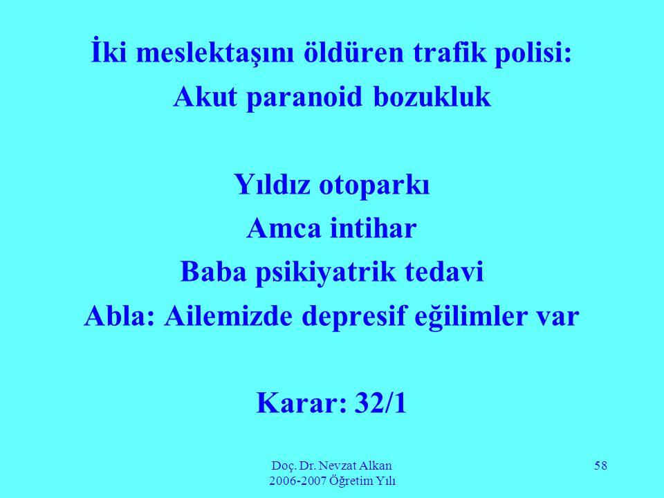 Doç. Dr. Nevzat Alkan 2006-2007 Öğretim Yılı 58 İki meslektaşını öldüren trafik polisi: Akut paranoid bozukluk Yıldız otoparkı Amca intihar Baba psiki