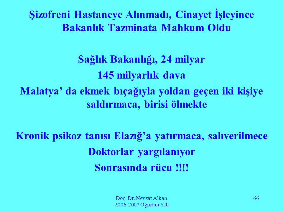 Doç. Dr. Nevzat Alkan 2006-2007 Öğretim Yılı 66 Şizofreni Hastaneye Alınmadı, Cinayet İşleyince Bakanlık Tazminata Mahkum Oldu Sağlık Bakanlığı, 24 mi
