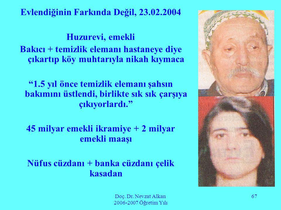 Doç. Dr. Nevzat Alkan 2006-2007 Öğretim Yılı 67 Evlendiğinin Farkında Değil, 23.02.2004 Huzurevi, emekli Bakıcı + temizlik elemanı hastaneye diye çıka