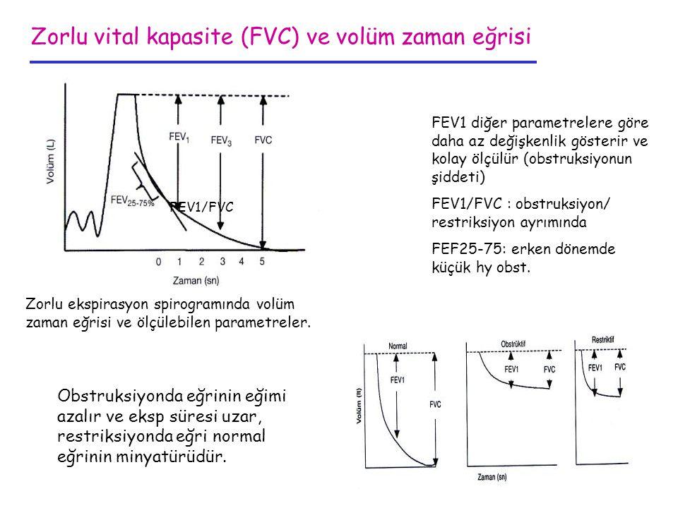 Zorlu vital kapasite (FVC) ve volüm zaman eğrisi Zorlu ekspirasyon spirogramında volüm zaman eğrisi ve ölçülebilen parametreler. FEV1/FVC FEV1 diğer p