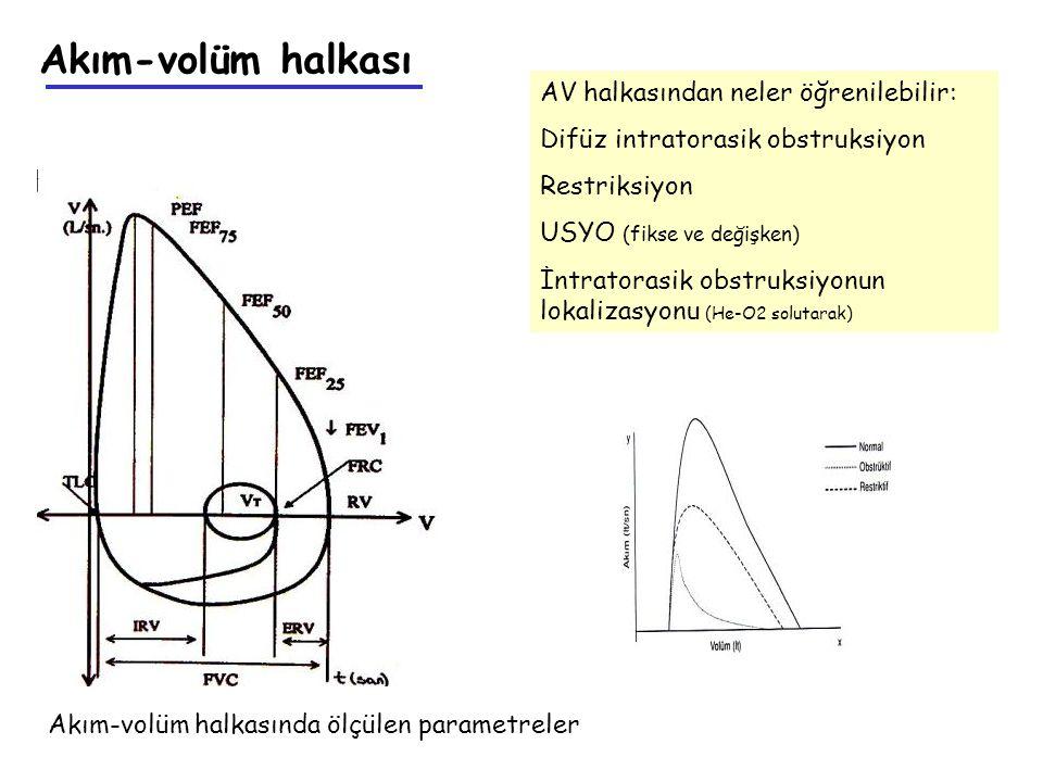 Akım-volüm halkasında ölçülen parametreler Akım-volüm halkası AV halkasından neler öğrenilebilir: Difüz intratorasik obstruksiyon Restriksiyon USYO (f