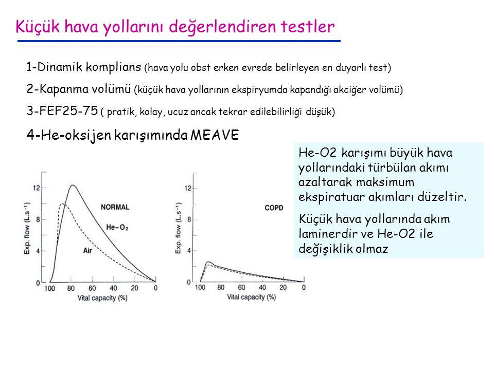 1-Dinamik komplians (hava yolu obst erken evrede belirleyen en duyarlı test) 2-Kapanma volümü (küçük hava yollarının ekspiryumda kapandığı akciğer vol