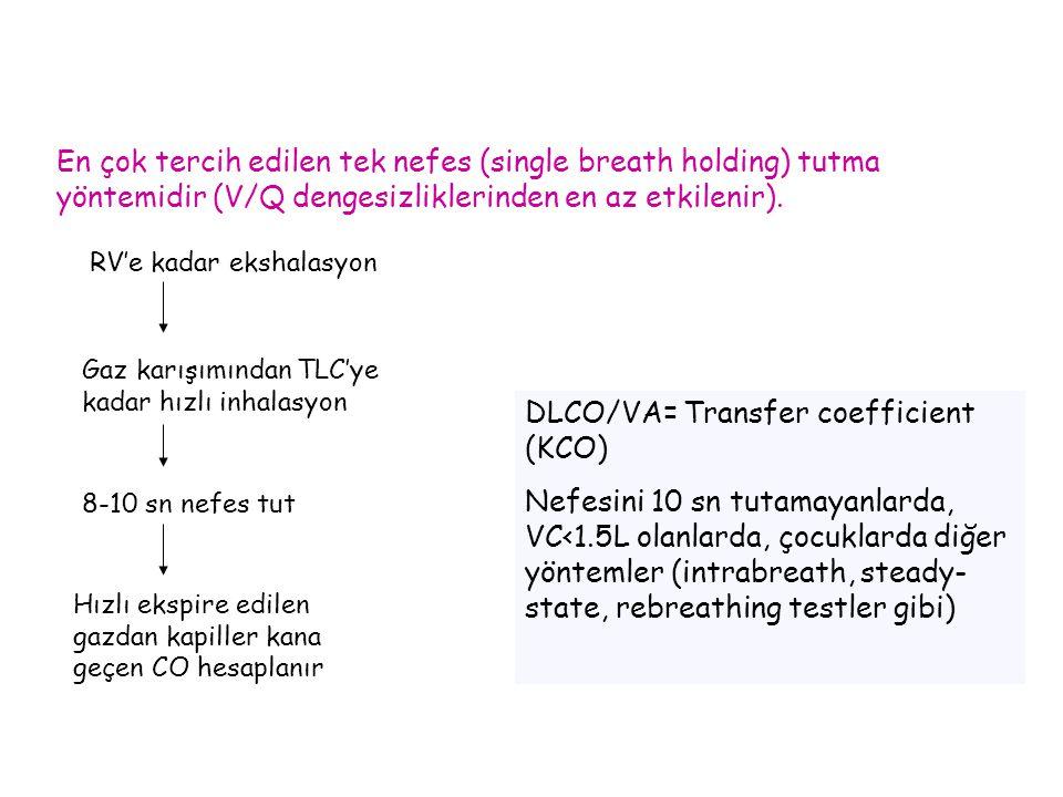 En çok tercih edilen tek nefes (single breath holding) tutma yöntemidir (V/Q dengesizliklerinden en az etkilenir). RV'e kadar ekshalasyon Gaz karışımı