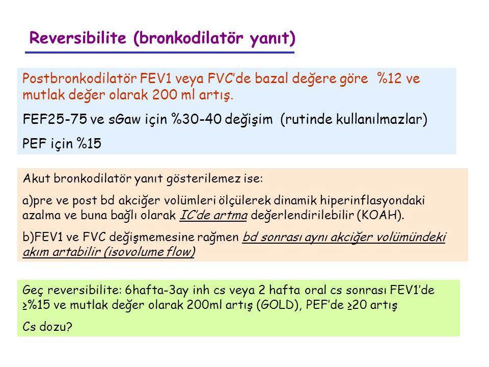 Reversibilite (bronkodilatör yanıt) Postbronkodilatör FEV1 veya FVC'de bazal değere göre %12 ve mutlak değer olarak 200 ml artış. FEF25-75 ve sGaw içi