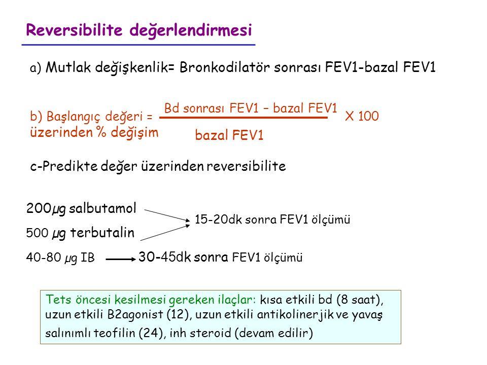 Bd sonrası FEV1 – bazal FEV1 bazal FEV1 a) Mutlak değişkenlik= Bronkodilatör sonrası FEV1-bazal FEV1 b) Başlangıç değeri = X 100 üzerinden % değişim R