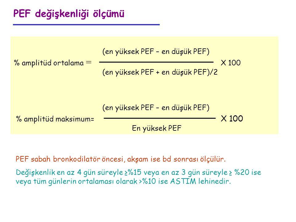 (en yüksek PEF – en düşük PEF) % amplitüd ortalama = X 100 (en yüksek PEF + en düşük PEF)/2 (en yüksek PEF – en düşük PEF) % amplitüd maksimum= X 100
