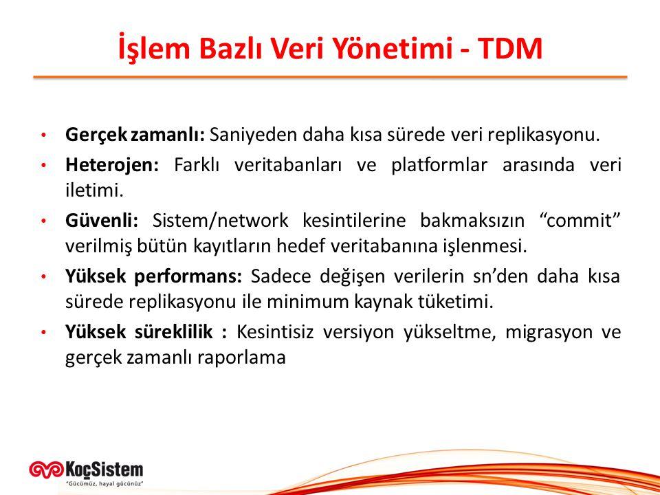 İşlem Bazlı Veri Yönetimi - TDM Gerçek zamanlı: Saniyeden daha kısa sürede veri replikasyonu. Heterojen: Farklı veritabanları ve platformlar arasında