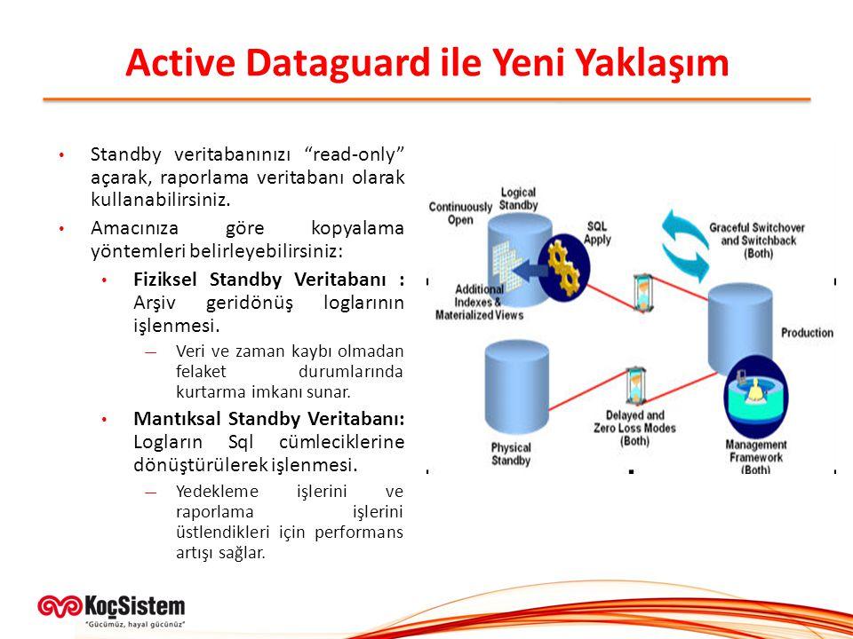 """Active Dataguard ile Yeni Yaklaşım Standby veritabanınızı """"read-only"""" açarak, raporlama veritabanı olarak kullanabilirsiniz. Amacınıza göre kopyalama"""