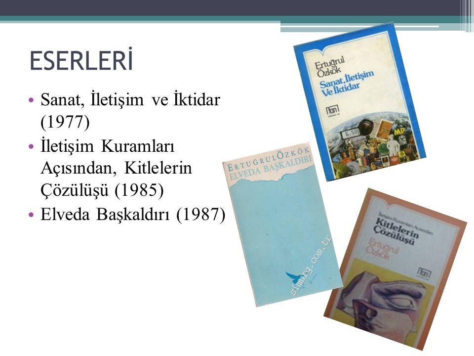 ESERLERİ Sanat, İletişim ve İktidar (1977) İletişim Kuramları Açısından, Kitlelerin Çözülüşü (1985) Elveda Başkaldırı (1987)