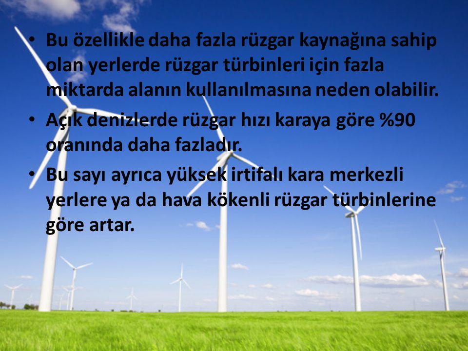 Bu özellikle daha fazla rüzgar kaynağına sahip olan yerlerde rüzgar türbinleri için fazla miktarda alanın kullanılmasına neden olabilir.