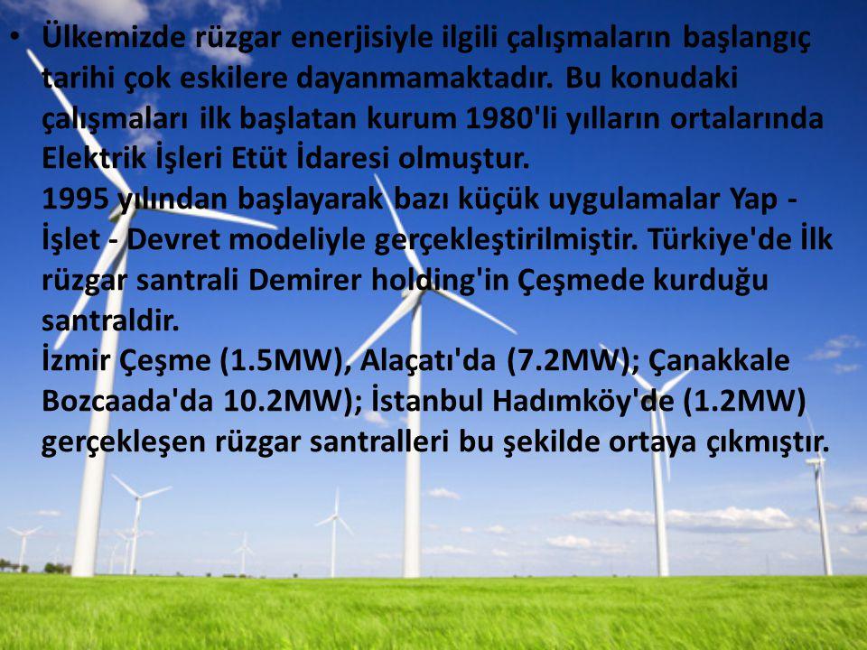 Ülkemizde rüzgar enerjisiyle ilgili çalışmaların başlangıç tarihi çok eskilere dayanmamaktadır.