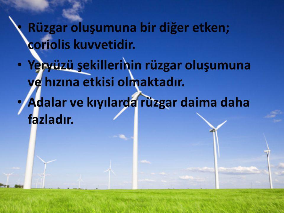 Rüzgar oluşumuna bir diğer etken; coriolis kuvvetidir.
