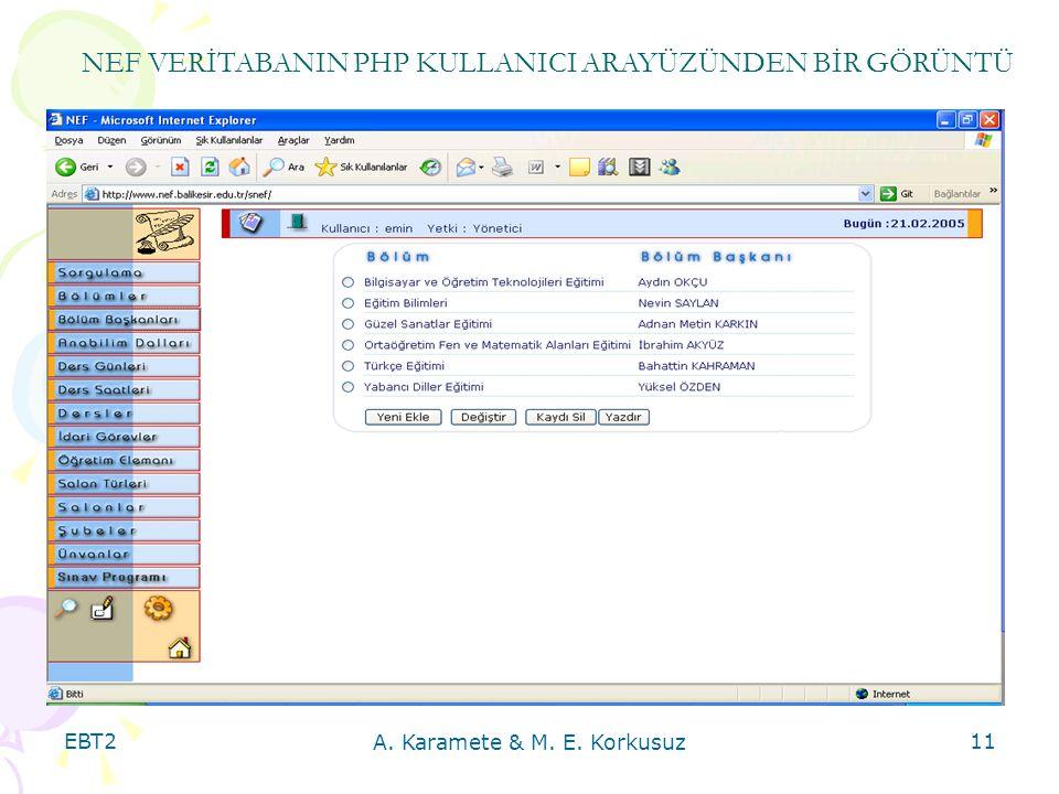 EBT2 A. Karamete & M. E. Korkusuz 11 NEF VERİTABANIN PHP KULLANICI ARAYÜZÜNDEN BİR GÖRÜNTÜ