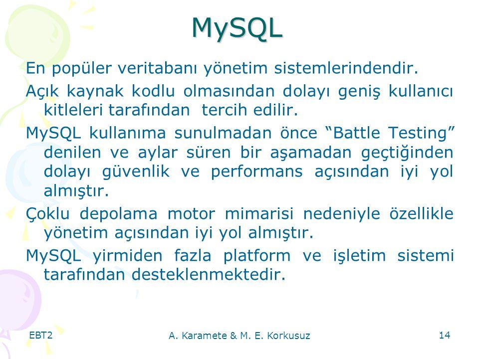 EBT2 A. Karamete & M. E. Korkusuz 14 MySQL En popüler veritabanı yönetim sistemlerindendir. Açık kaynak kodlu olmasından dolayı geniş kullanıcı kitlel